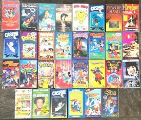 Selection of collectable children 1990s VHS tapes.