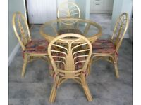 Cane breakfast/dining/conservatory table & chairs