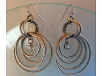 Silver plated hanging earrings