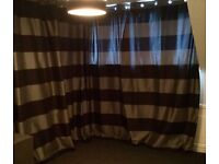 """4 long 89"""" black/silver grey curtains, fully lined"""