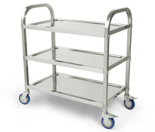 stainless steel 3 tier rolling kitchen cart service. Black Bedroom Furniture Sets. Home Design Ideas