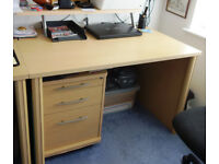 Beech effect Desk and drawer unit