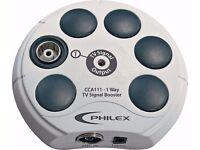 Philex 1 Way TV Aerial Signal Booster - Cream.
