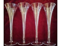 NEW Set 4 Tall Flutes or Small Vases. Glassware Engraved Grape Filigree Design. Wedding/Collectors