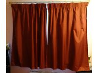 Lined Curtains (2 x 117cm x 137cm), Wine-Red (1)