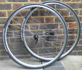Spa Cycles handbuilt wheelset [RS400 hubs/Sapim spokes/Exal LX17 rims] + Michelin tyres & tubes