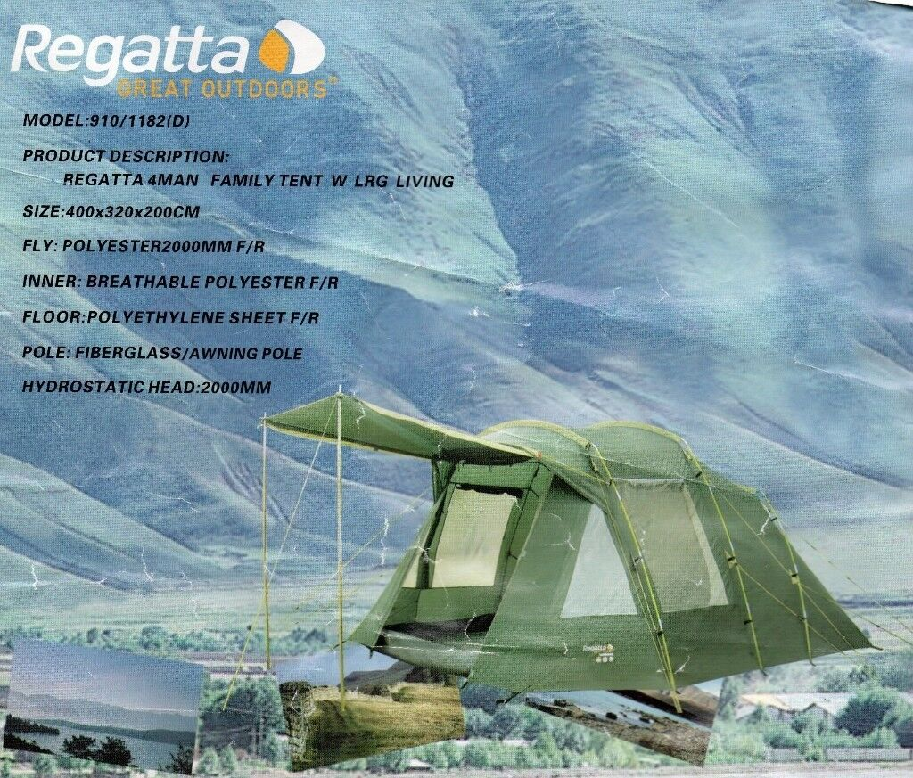 Regatta 4 Man tent with large living area Model 910/1182D - 400 x 320 x 200 CM Only used once! & Regatta 4 Man tent with large living area Model 910/1182D - 400 x ...