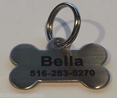 Personalized SMALL Stainless Steel Dog Bone Dog Tag Pet ID Tag Pet Tag Name Tag