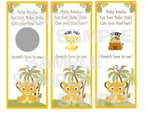LION KING Baby Shower party game scratch off tickets SIMBA NALA Hakuna Matata