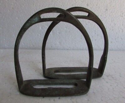 Vtg Farm Decor Pair Of Vintage Old Collectible Handcrafted Footrest Saddle  Stirrups Decorative Indian Royal Brass Horse Pedal G42-104