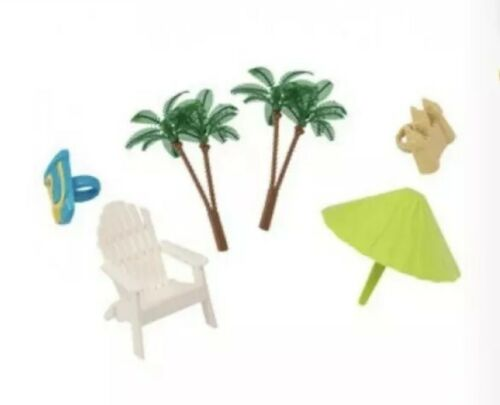 beach chair and umbrella cake topper decoration