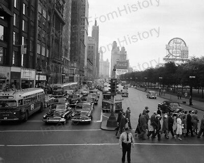 8x10 Print City View Chicago IL Michigan Blvd & Monroe Street 1940's #CHIA