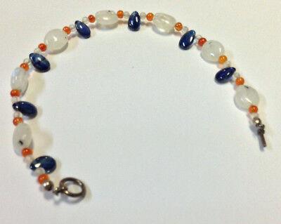 Chicago Bears Bracelet Orange Carnalian Blue Kyanite White Moon Stone Anklet  Chicago Bears Stone