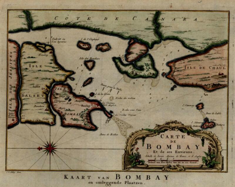 Bombay Coastal Survey India Colonialism 1750 harbor environs decorative map