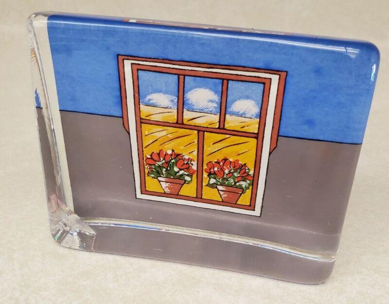 Ittala Finland Art Glass Paperweight Helja Liukko-Sundstrom Flowers Windowsill