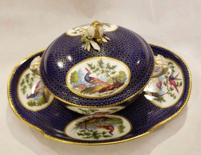 Sevres Porcelain Bowl, Lid, Tray Hand painting decoration w/exotic birds 18-19c.