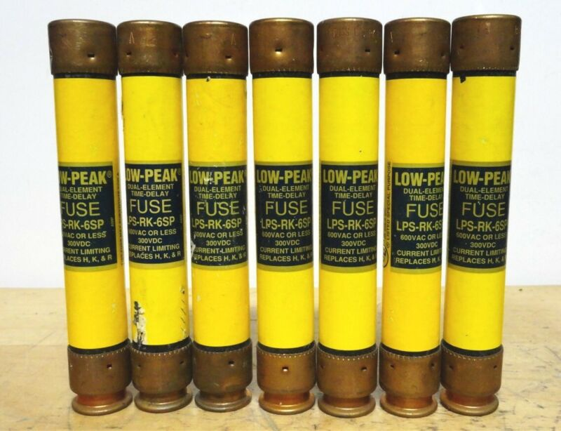 BUSSMANN (Lot of 7) LPS-RK-6SP - 6A Low Peak Time Delay Fuse (NEW)