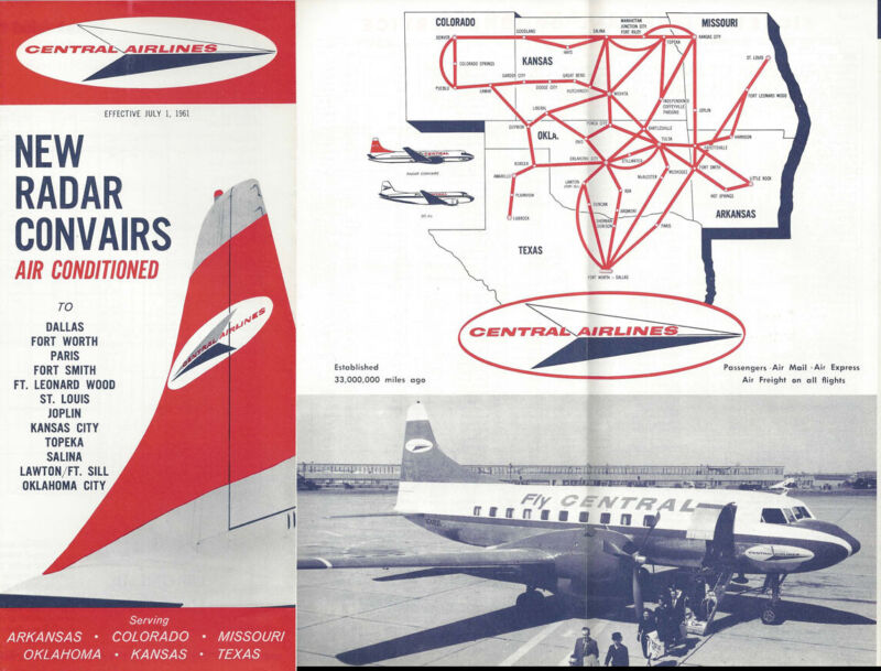 Central Airlines system timetable 7/1/61 [0098]