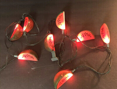 VTG Blow Mold String Lights Party Patio Lites RV Camper WORKS Watermelon Fruit