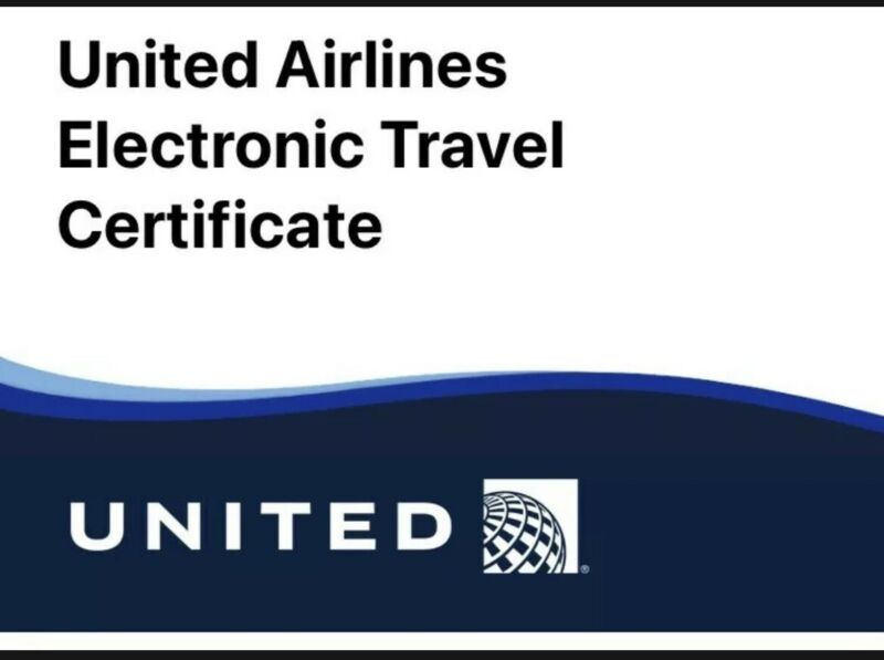 United airlines electronic travel certificate $100 Expires 7/18/2021