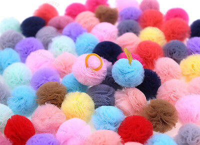 20X Pet Puppy Dog Cat Hair Bows Small Balls with Rubber Bands Dog Grooming - Balls With Hair