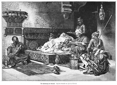 Tatoo, Tätowierung im Harem, Original-Holzstich von ca. 1890