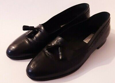 Vintage GUCCI 9.5 Black Tassel Leather Loafers flat Dress Shoes 43.5 Authentic