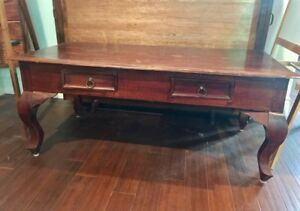 Solid wood coffee table with cabriole legs