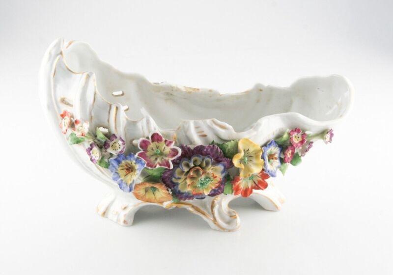 "Vintage German Porcelain Floral Bowl Marked ""Germany"" with Von Schierholz Stamp"