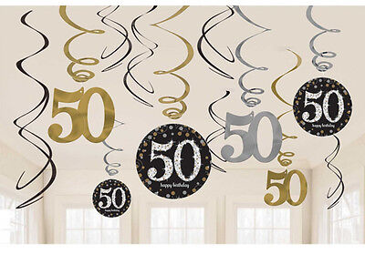 12 X 50th Birthday Wirbel Wandbehang Black Silber Gold Partydekorationen (50th Birthday Party Dekorationen)