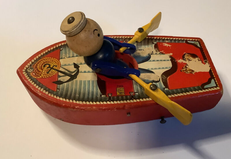 Vintage antique 1940s Fisher Price Row Boat Pull Behind Toy 730 RARE. Works!