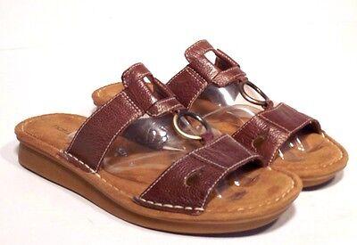 Natural Soul Womans Sandal Shoes Sz 7.5 M Brown Leather Slip On Comfort Sandals Natural Woman Sandale