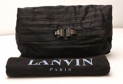 Layers Pleated Clutch - LANVIN Black Satin Ribbon Layered Pleated Pouch Clutch Handbag Bag Purse