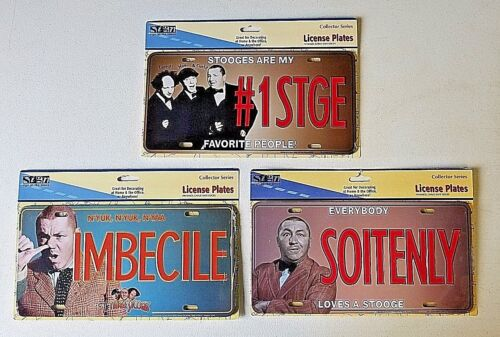 3 Stooges Novelty Car Truck License Plate Metal Auto Tag Retro Collector Series
