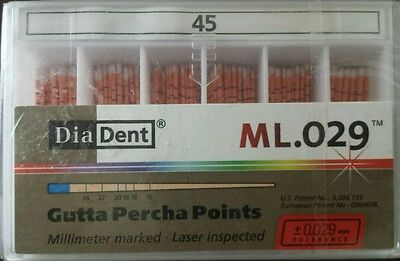 Diadent Gutta Percha Points Size 45 Iso Color Coded Box Of 120