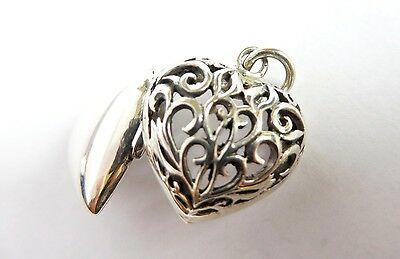 Sterling Silver Filigree Openwork Celtic knot Love Heart photo locket Charm 25mm