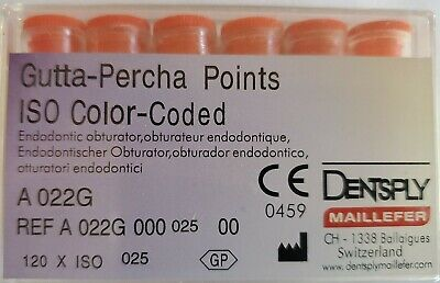 Dentsply Gutta Percha Points Size 25 Iso Color Coded Box Of 120
