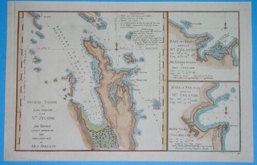1774 UNUSUAL ORIGINAL MAP NEW ZEALAND THAMES RIVER Mercury Bay NORTH ISLAND rare