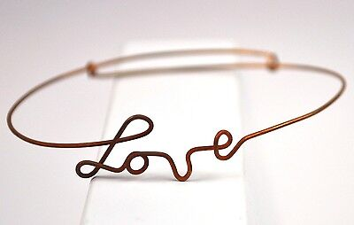 Original vintage USA 1960er Hippie Kupfer Handgelenk Armreif LOVE wrist bracel