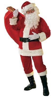 Rubies Velours Santa Anzug mit Rand Kunstpelz Herren Weihnachten Kostüm - Rubies Kostüm Santa Anzug