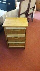 Small wooden chest of draws three baskets
