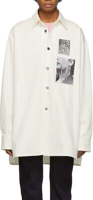 RAF SIMONS WHITE BIG FIT DENIM SHIRT WITH TWO PATCHES SIZE M
