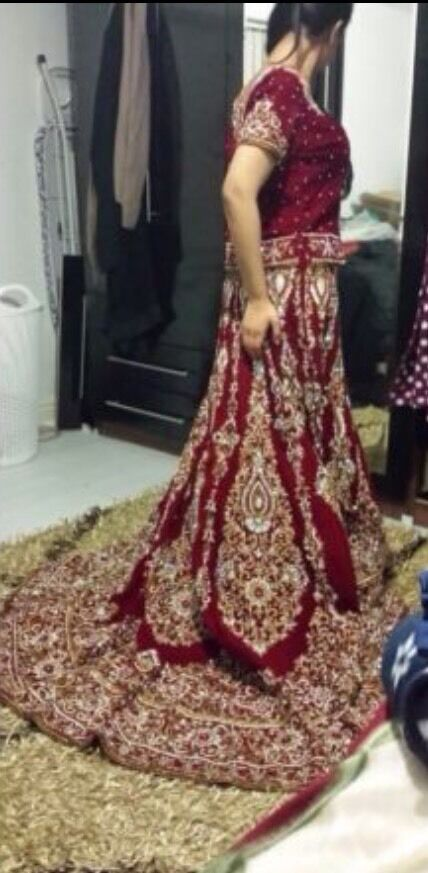 Red And Gold Asian Wedding Bridal Stani Indian Lengha Dress