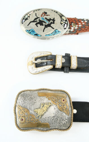 types of belt buckles. vintage western belt buckles can encompass a wide variety of insignias emblazoned on the front. most these western-themed include activities types