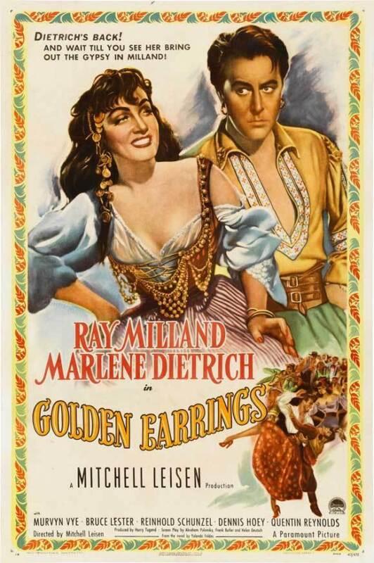 GOLDEN EARRINGS Movie POSTER 27x40 Ray Milland Marlene Dietrich Bruce Lester