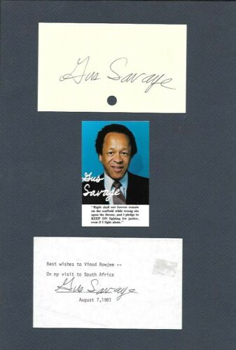Gus Savage. Former Congressman from Illinois.  3x5 Signed index card and paper