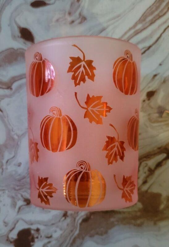 Halloween Fall Autumn Pumpkin Candle Holder?  Or Drinking Glass?