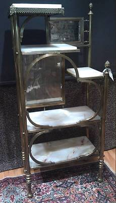 Beautiful Etagere ( VICTORIAN Brass, Mirror and  Marble Etagere- Unusual and beautiful piece )