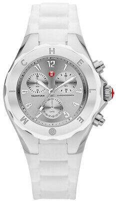 Michele Women's Tahitian Jelly Bean Silver White Silicone Watch MWW12F000032