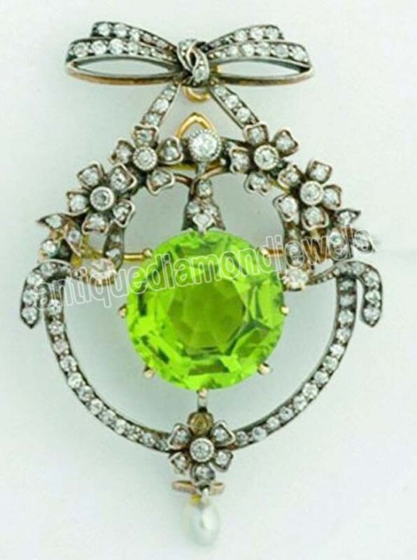 3.70cts ROSE CUT DIAMOND PERIDOT PEARL ANTIQUE VICTORIAN LOOK 925 SILVER BROOCH